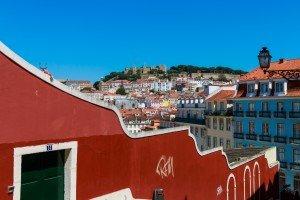 View of Lisbon Castle from Calçada do Duque